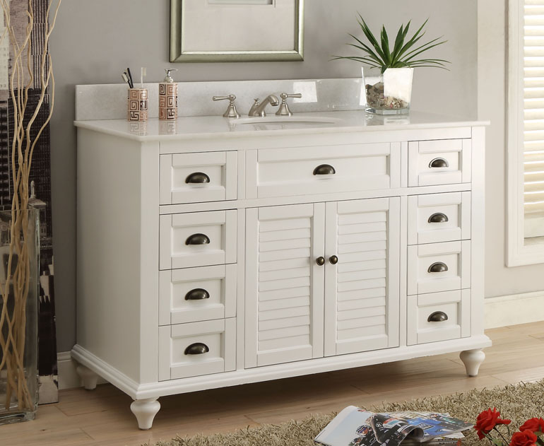 Adelina 49 inch Antique White Bathroom Vanity with Marble Top