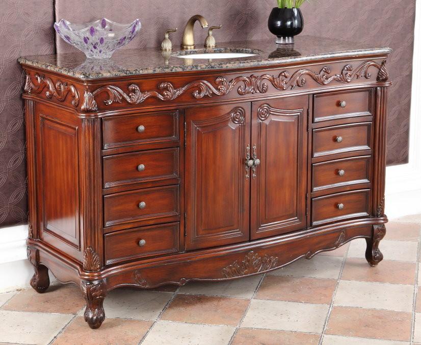 "Adelina 56"" Antique Bathroom Vanity Beckham Brown Granite Top"