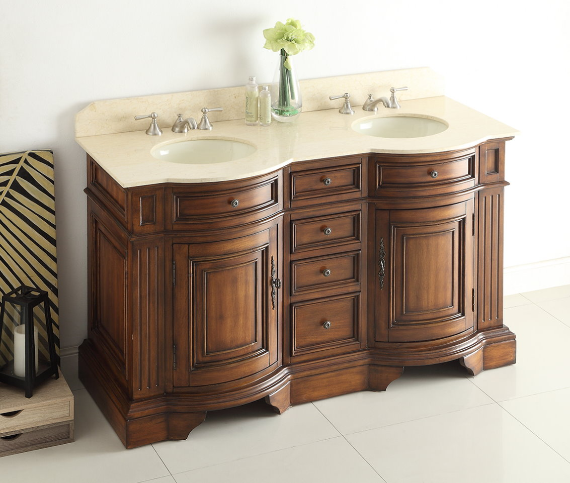 Adelina 60 inch Chestnut Finish Double Sink Bathroom Vanity