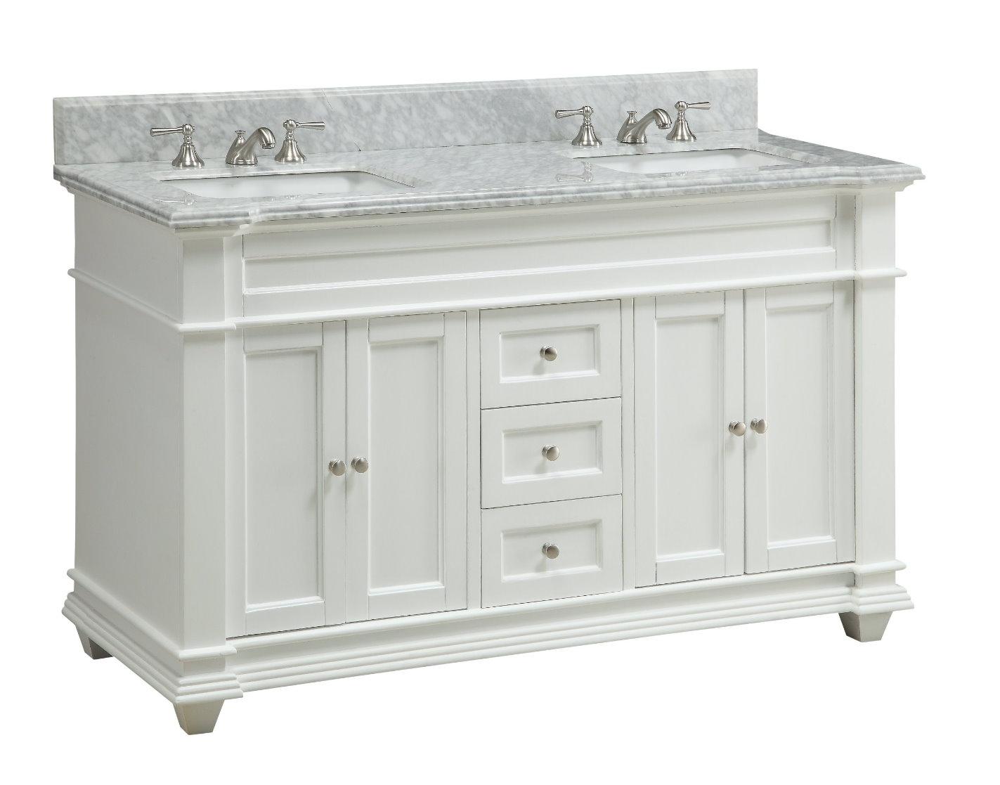 Adelina 60 inch Double Sink Bathroom Vanity White Finish