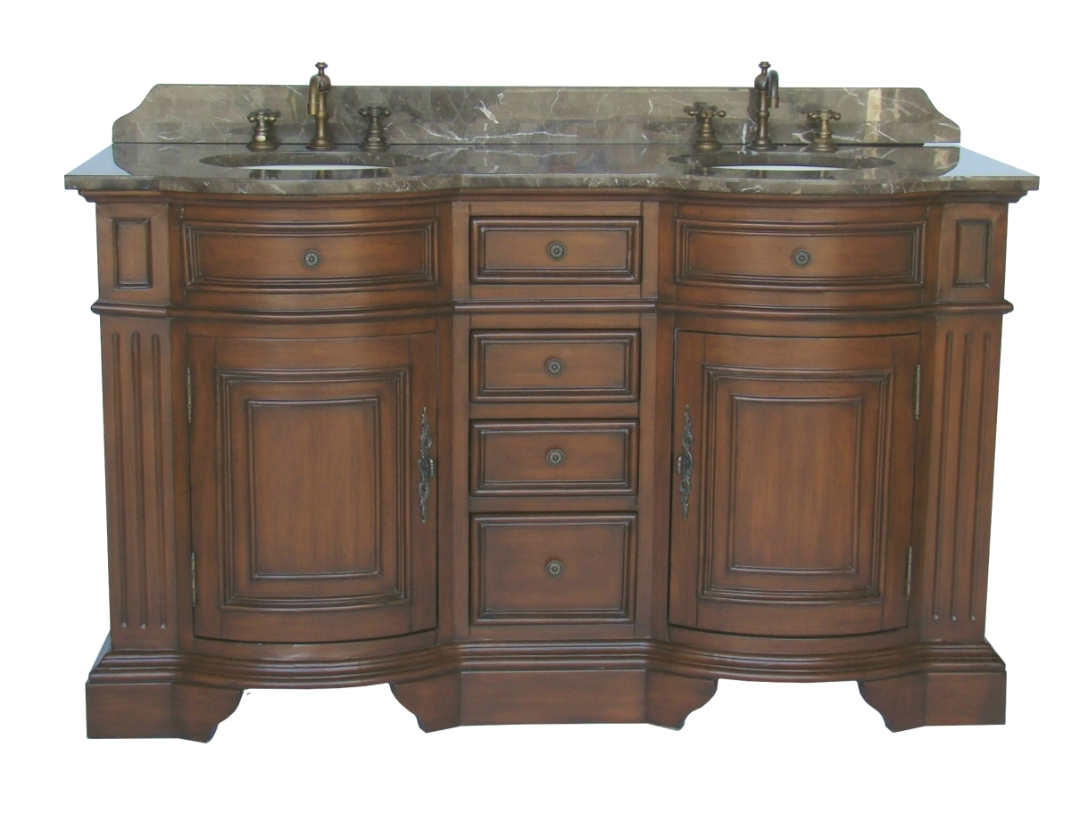 Adelina 60 inch Antique Double Sink Bathroom Vanity Chestnut Finish