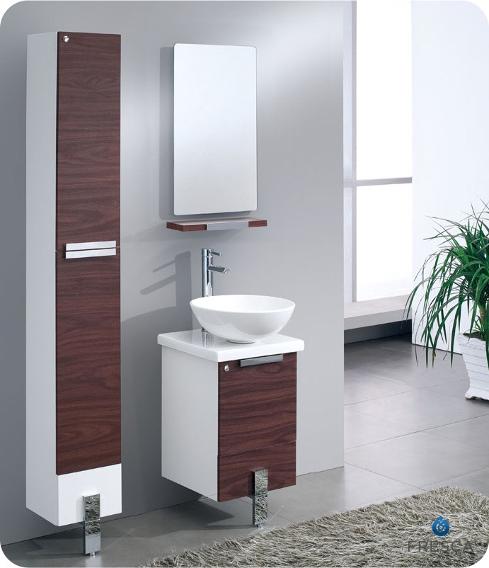 modern bathroom mirror cabinets fresca adour 16 quot walnut modern bathroom vanity with 19572
