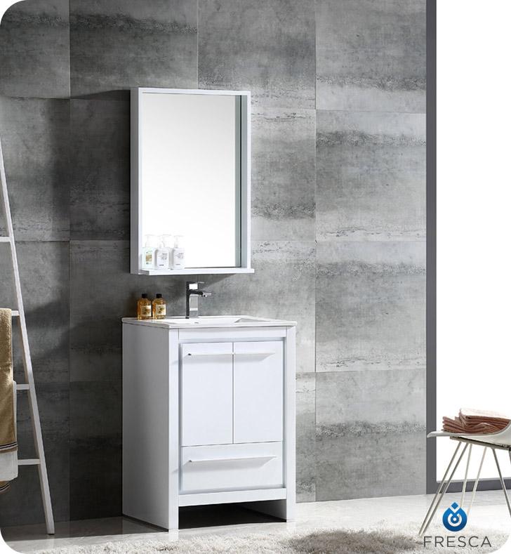 24 inch Modern Bathroom Vanity Glossy White Finish