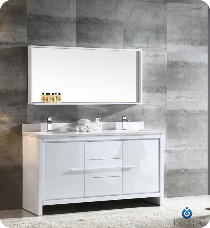 60 inch Modern Double Sink Bathroom Vanity Glossy White Finish