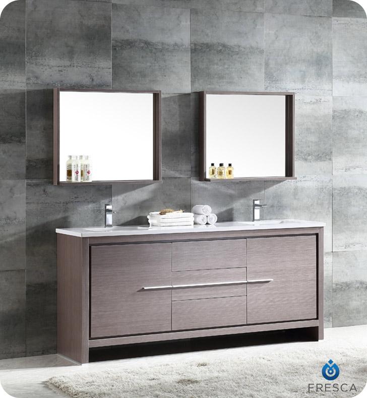 """72"""" Modern Double Sink Bathroom Vanity Gray Oak Finish"""
