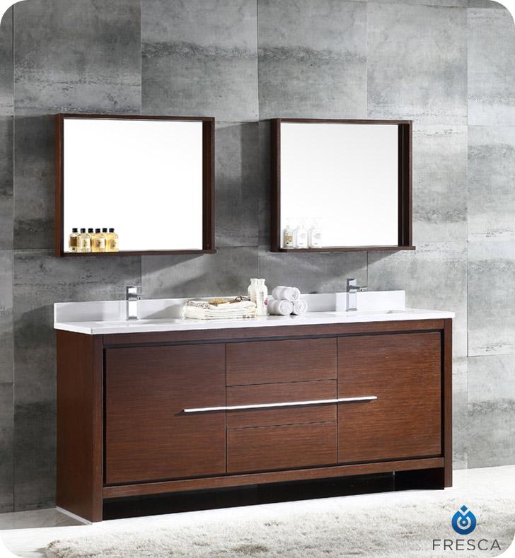 """72"""" Modern Double Sink Bathroom Vanity Wenge Finish"""