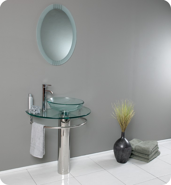 """30"""" Modern Glass Bathroom Vanity with Faucet and Cabinet Option"""