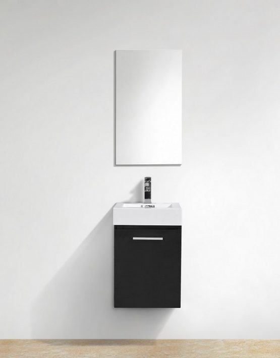 "Modern Lux 16"" Black Wall Mount Modern Bathroom Vanity"