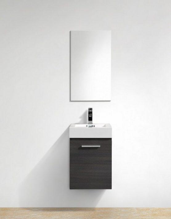 "Kubebath Bliss 16"" High Gloss Gray Oak Wall Mount Modern Bathroom Vanity"
