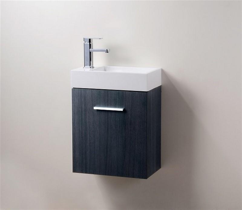"""Modern Lux 18"""" Gray Oak Wall Mount Modern Bathroom Vanity"""
