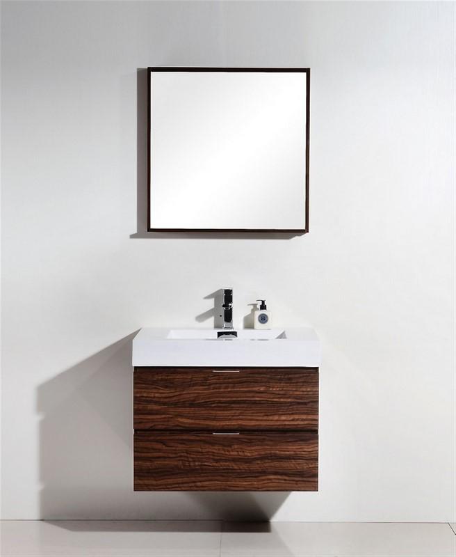 "Modern Lux 30"" Walnut Wall Mount Modern Bathroom Vanity"