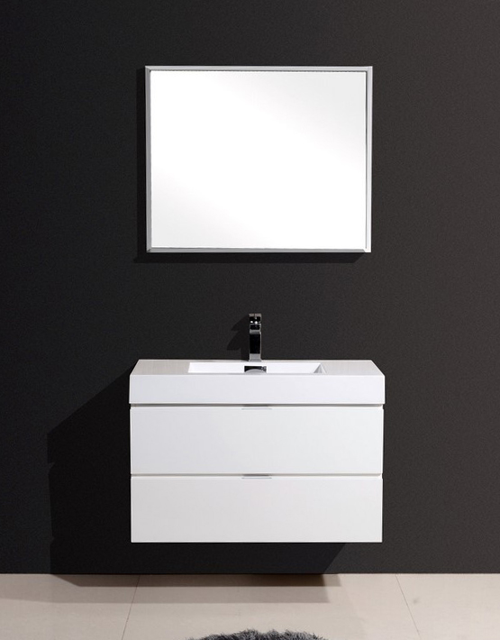 "Modern Lux 36"" High Gloss White Wall Mount Modern Bathroom Vanity"