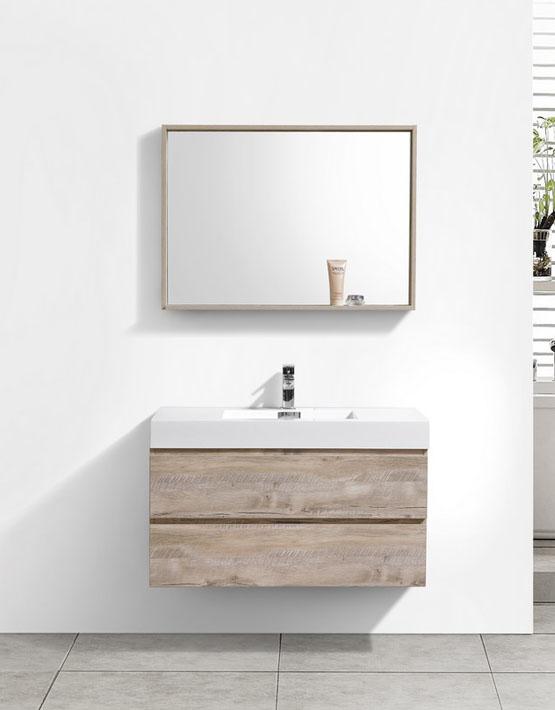 """Modern Lux 40"""" Nature Wood Wall Mount Modern Bathroom Vanity"""