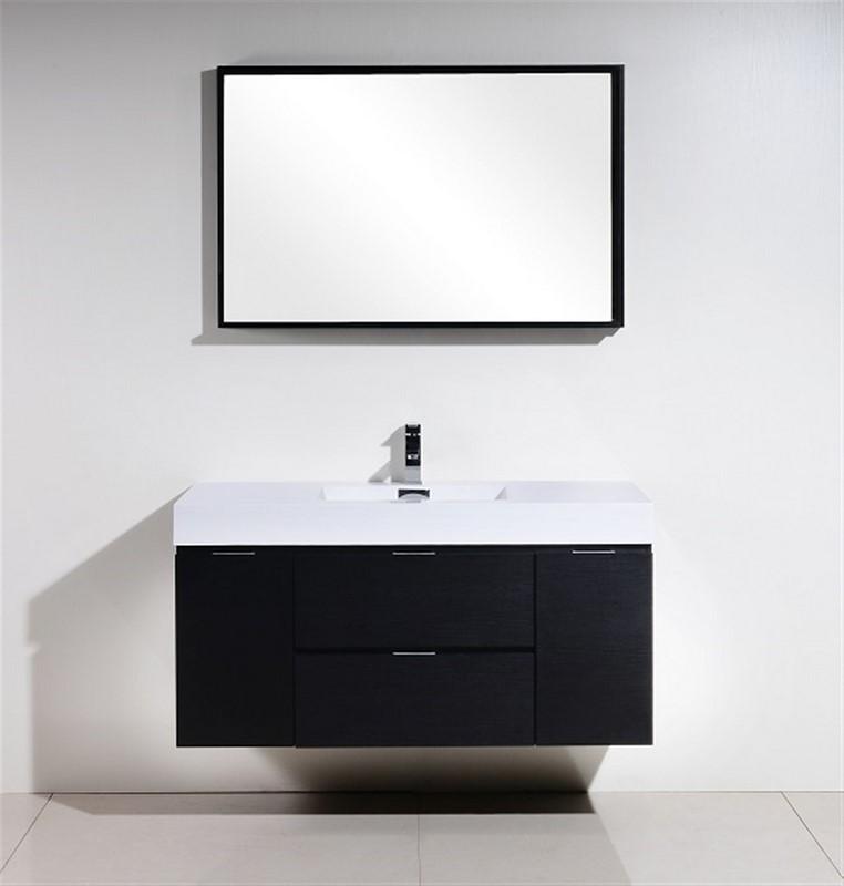 """Modern Lux 48"""" Black Wall Mount Modern Bathroom Vanity"""