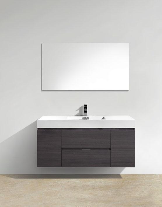 "Modern Lux 48"" High Gloss Gray Oak Wall Mount Modern Bathroom Vanity"