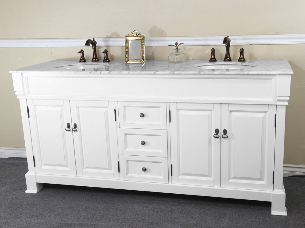 72 inch Traditional White Finish Double Sink Bathroom Vanity