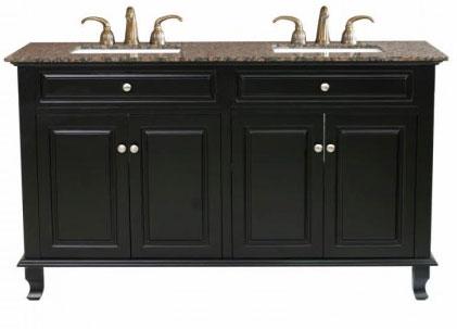 Bella 62 inch Double Sink Bathroom Vanity Baltic Brown Marble Top