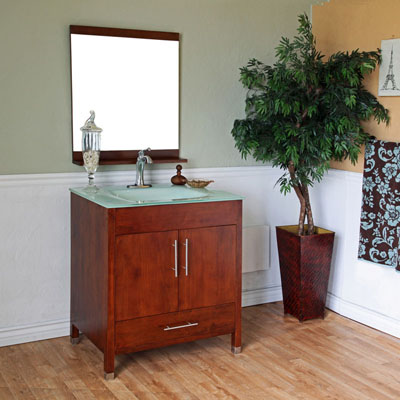 Bella 32 inch Walnut Finish Single Sink Bathroom Vanity