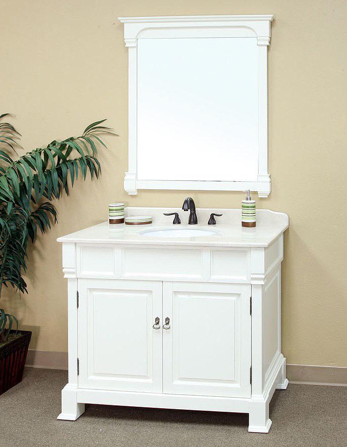 Bella 42 inch White Bathroom Vanity Cream Marble Top