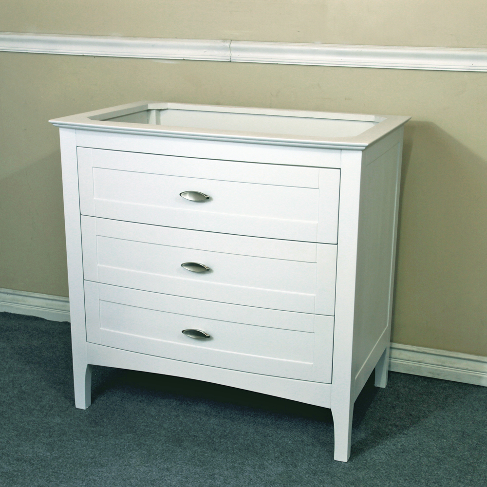 Bellaterra home 35 inch single sink vanity base only white finish - Bathroom vanity cabinet base only ...