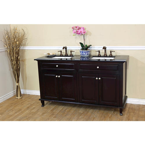 Bella 62 inch Double Sink Bathroom Vanity Black Galaxy Granite Top