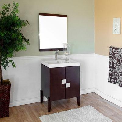 Bella 25 inch Single Sink Bathroom Vanity White Ceramic Top