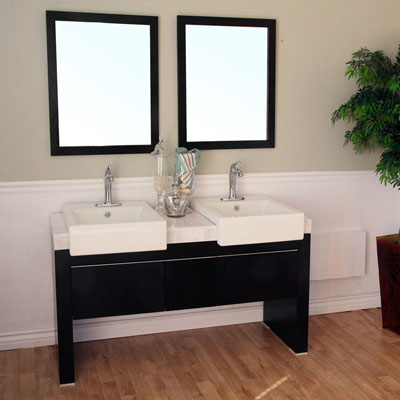 Bella 57 inch Double Sink Bathroom Vanity White Marble Top