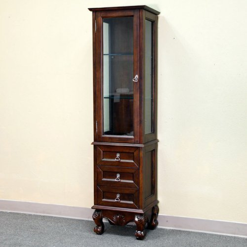 Bella 66 inch Linen Wood Cabinet Medium Walnut