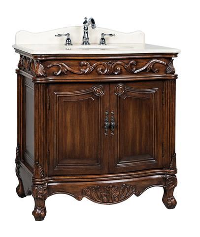 "Adelina 32"" Antique Bathroom Vanity Brown Finish"