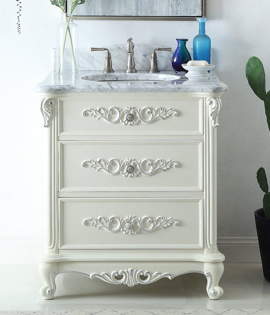 "Antique Style 32"" Collection Vanilla Beige Bathroom Vanity"