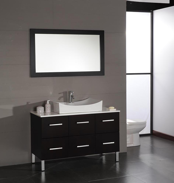 48 inch Contemporary Porcelain Vessel Sink Bathroom Vanity Set