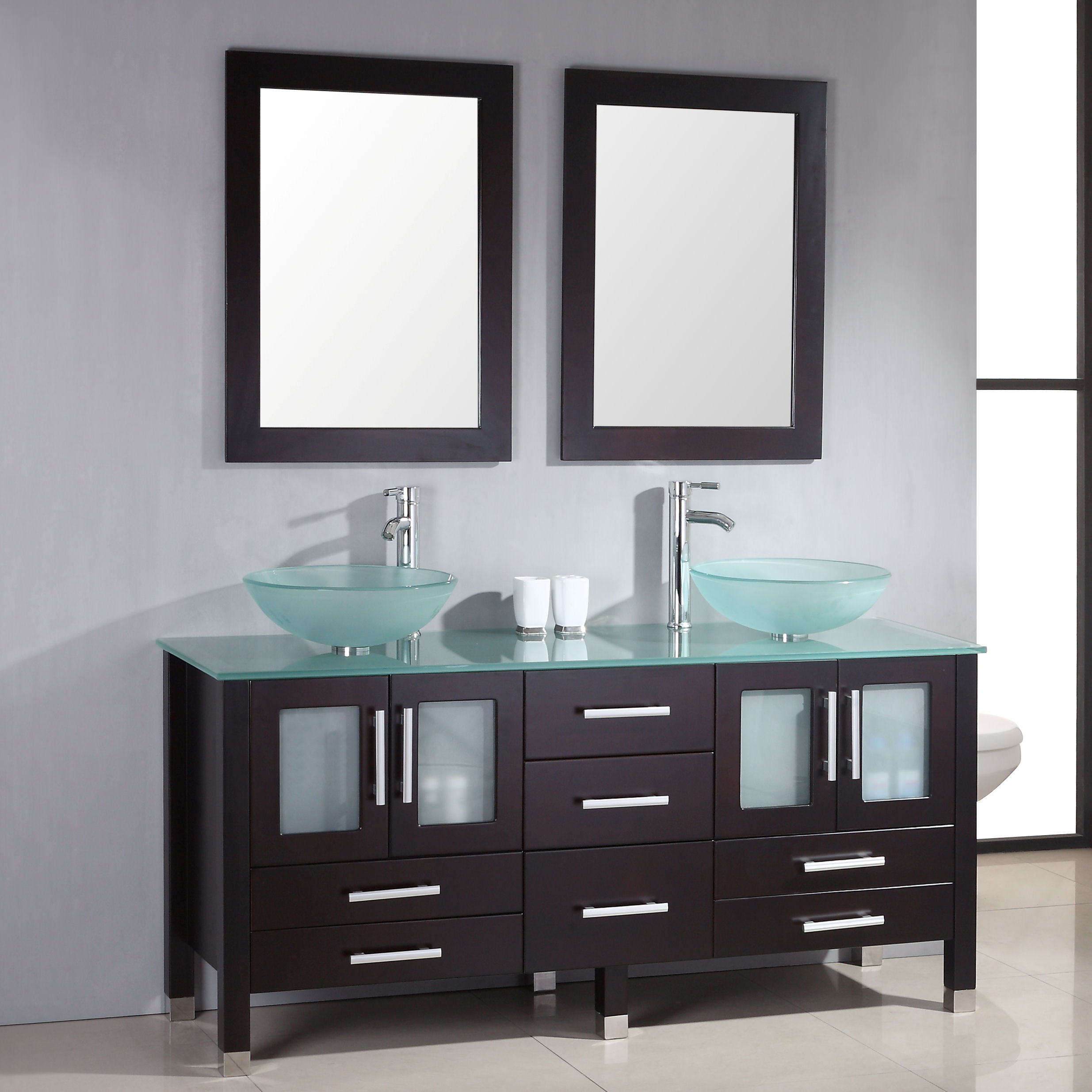 """71"""" Solid Wood & Glass Double Vessel Sink Vanity Set with Polished Chrome Faucets"""