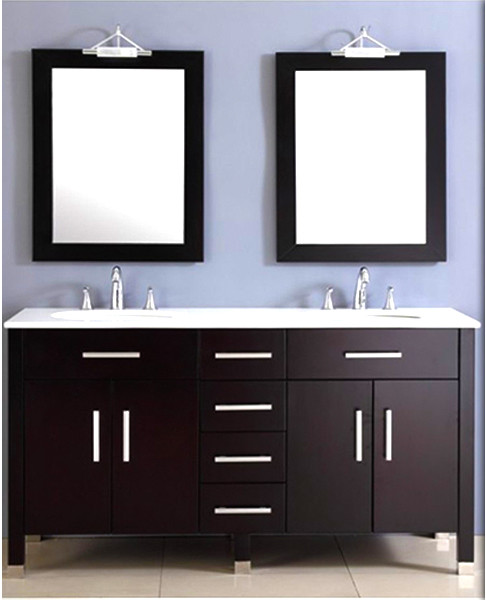 """72"""" Contemporary Espresso Solid Wood and Porcelain Double Vanity Set"""