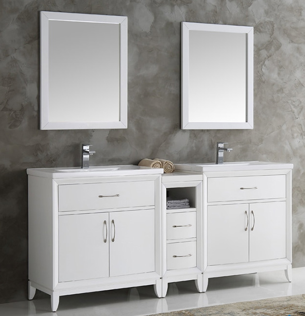 """72"""" White Double Sink Traditional Bathroom Vanity in Faucet Option"""