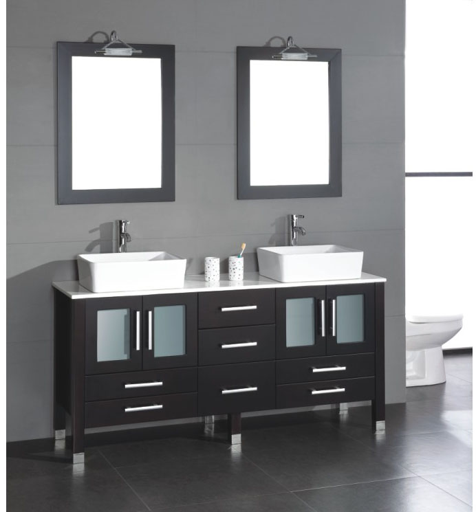 """71"""" Solid Wood Bathroom Vanity with a White Porcelain Counter Top and Two Matching White Vessel Sinks, Two Mirrors, and Brushed Nickel Faucets and Drains"""