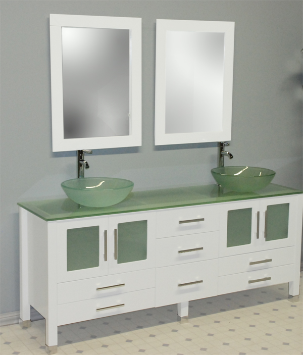"71"" Solid Wood & Frosted Glass Double Vessel Sink Vanity ..."