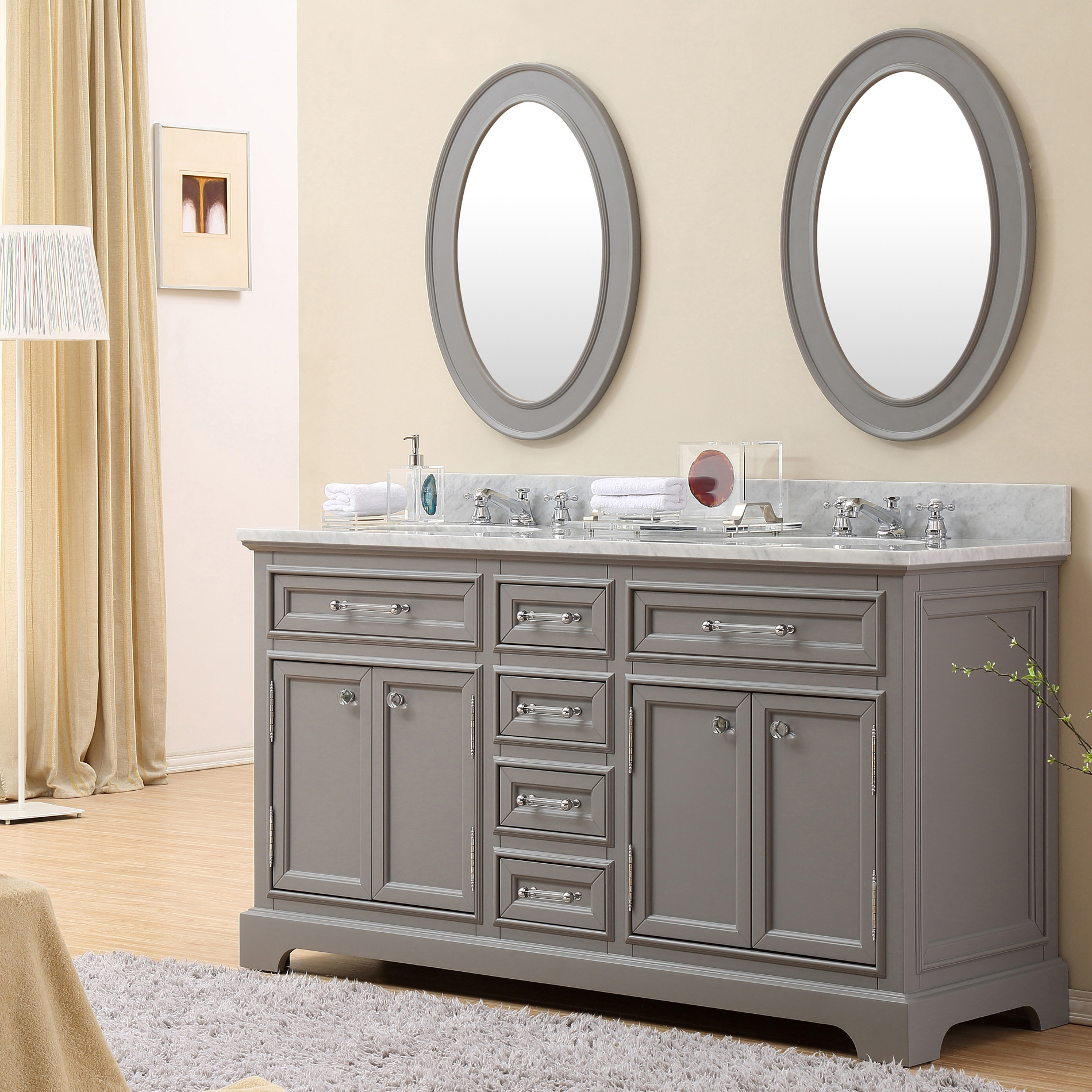 Carenton 72 Inch Traditional Double Sink Bathroom Vanity Gray Finish
