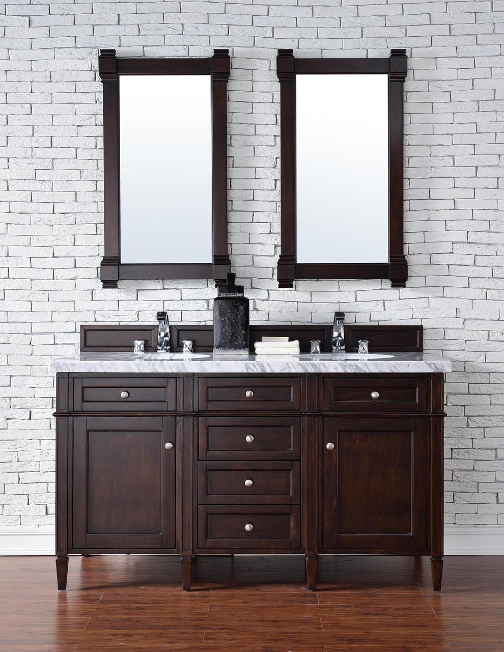 60 inch Double Sink Contemporary Bathroom Vanity Mahogany Finish Optional Tops
