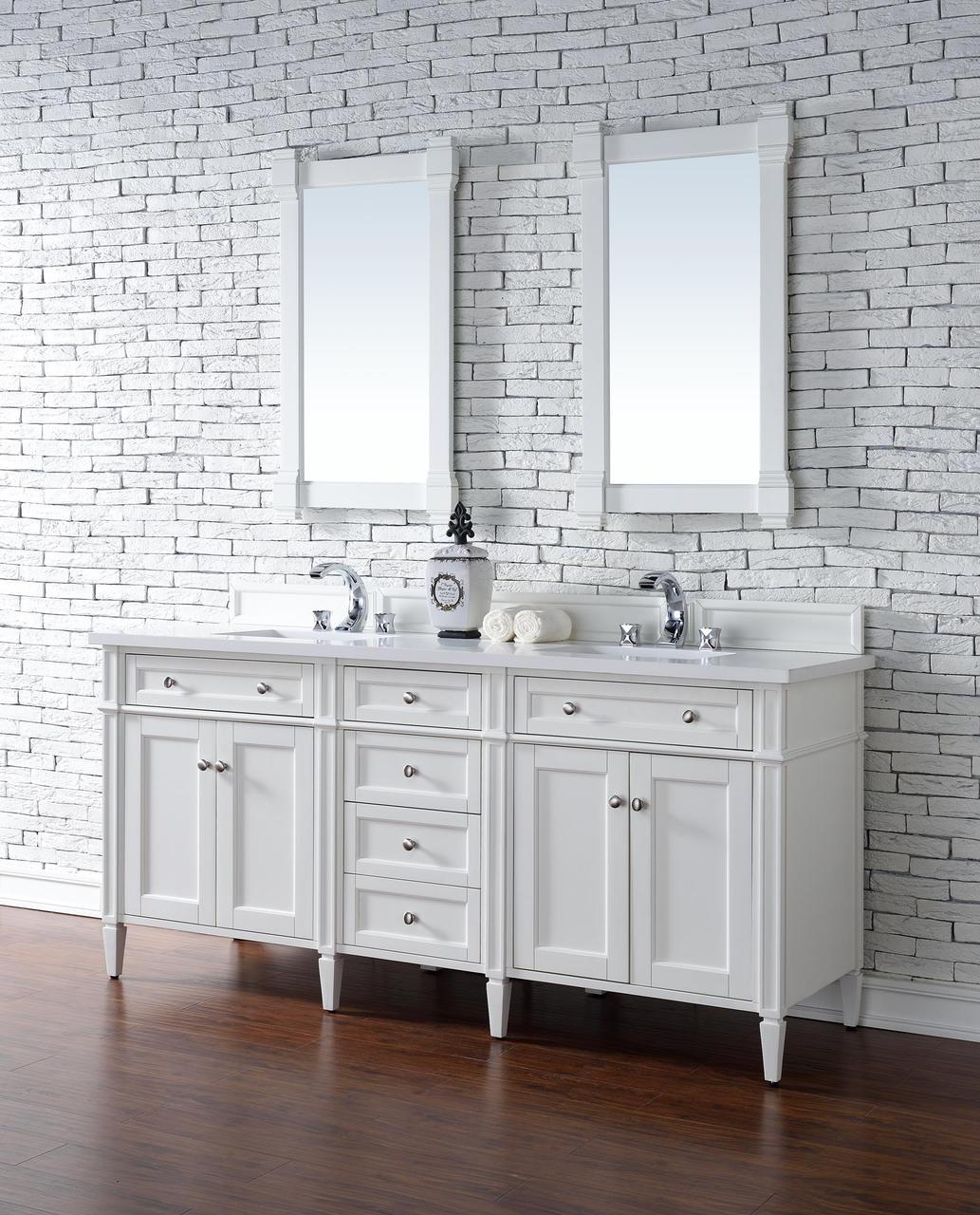 """James Martin Brittany Collection 72"""" Double Vanity, Cottage White"""