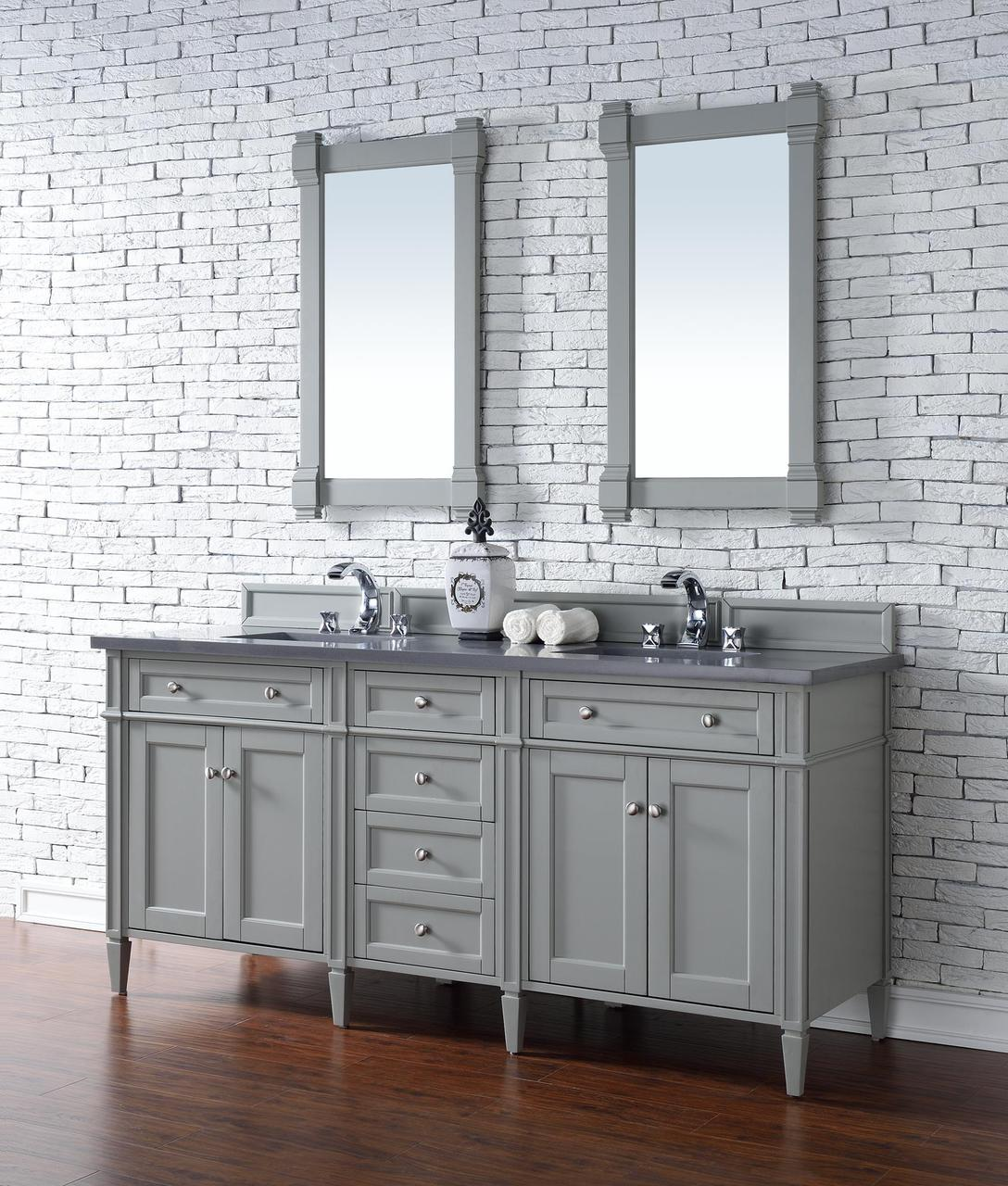 James martin brittany collection 72 double vanity urban gray for Bathroom cabinets 72 inches