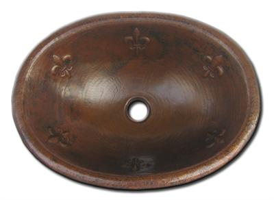 Copper Oval Fleur De Lis Sink Chocolate Finish, Finest handmade