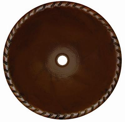 Copper Round Rope 15 inch Sink Chocolate Finish