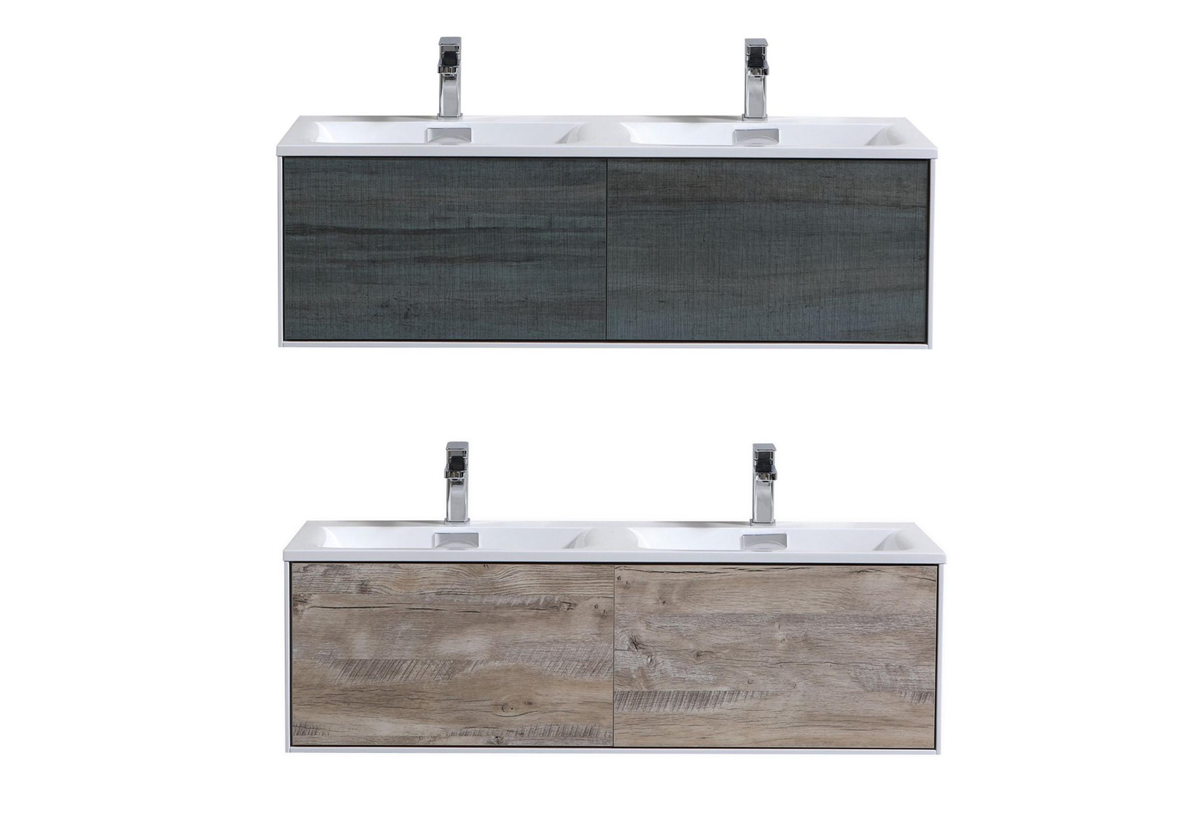 "Modern Lux 48"" Wall Mount Double Sink Modern Bathroom Vanity"