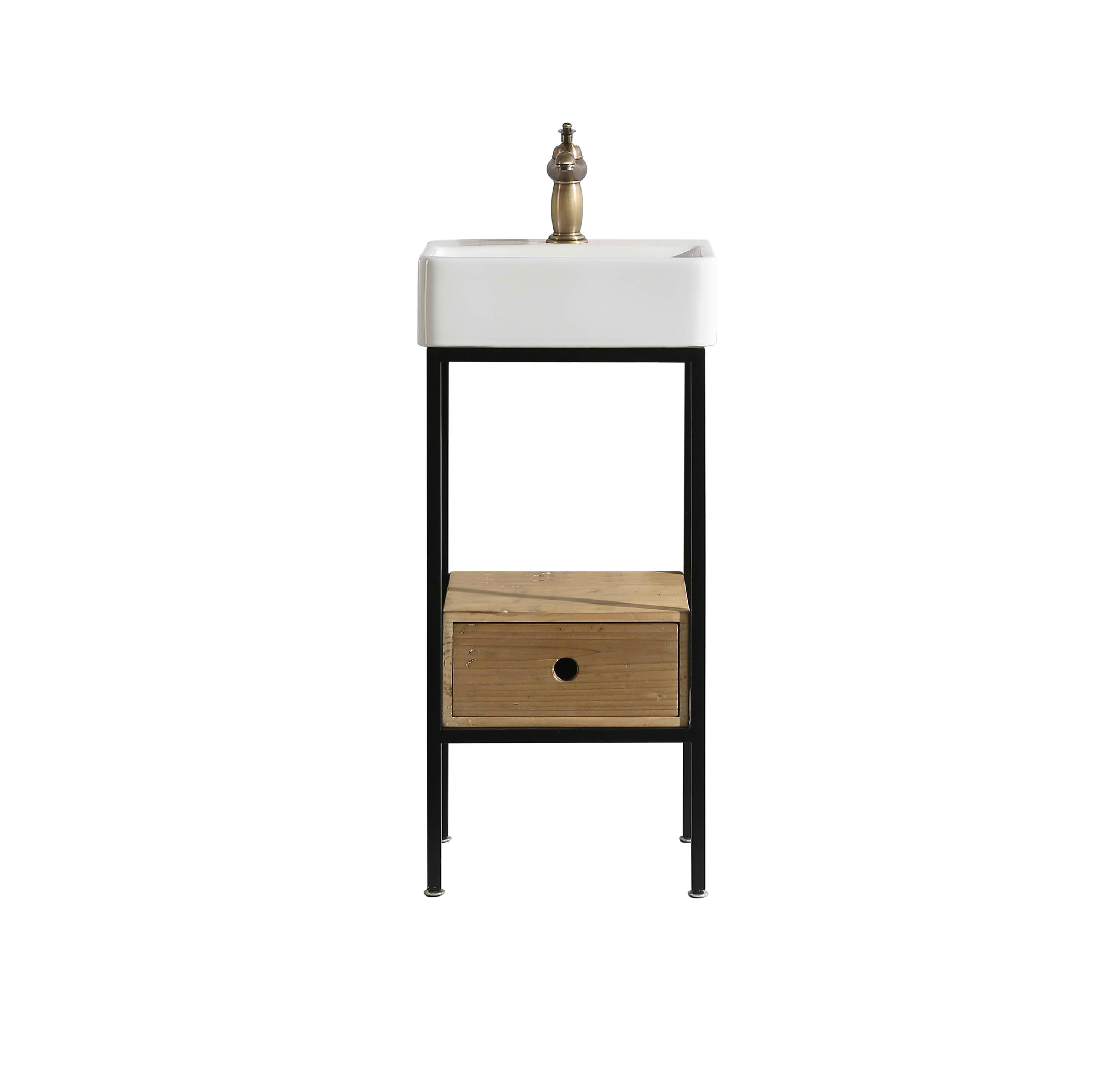 "Rustic 16"" Single Sink Bathroom Vanity with Porcelain Integrated Counterop in Natural Rustic Wood Finish"