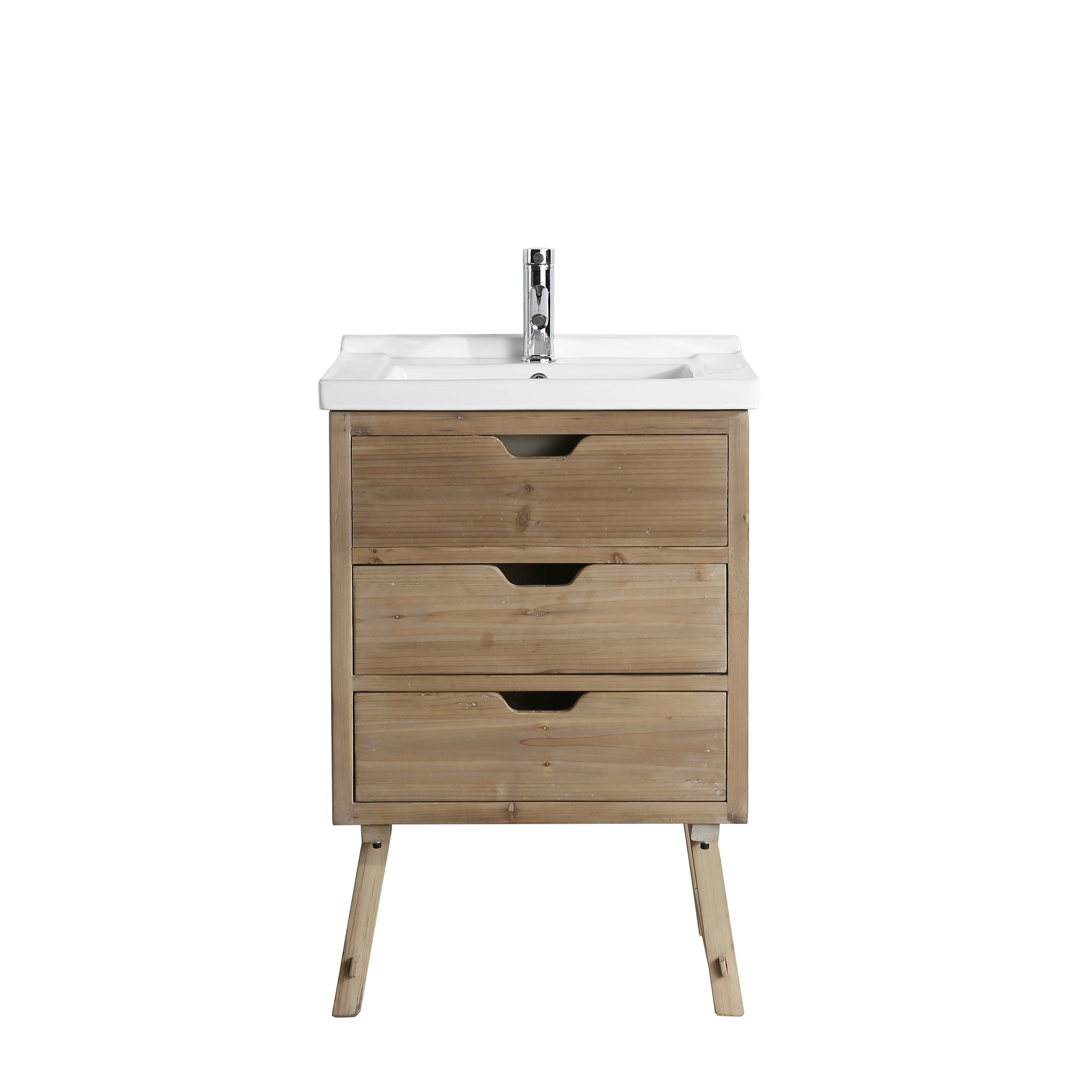 "Rustic 24"" Single Sink Bathroom Vanity with Porcelain Integrated Counterop in Natural Distressed Wood Finish"