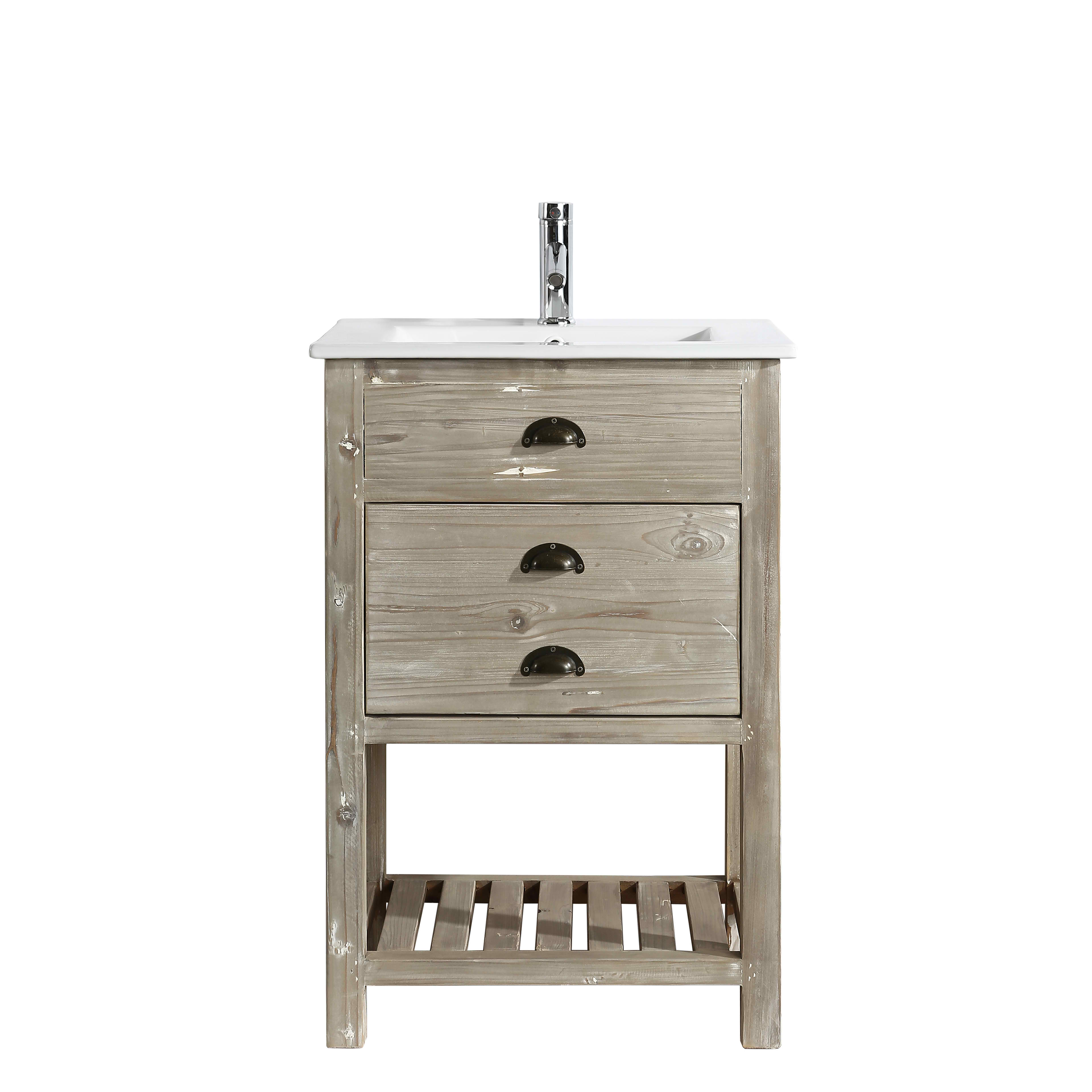 "24"" Rustic Single Sink Bathroom Vanity with Porcelain Integrated Counterop in Natural Distressed Wood Finish"