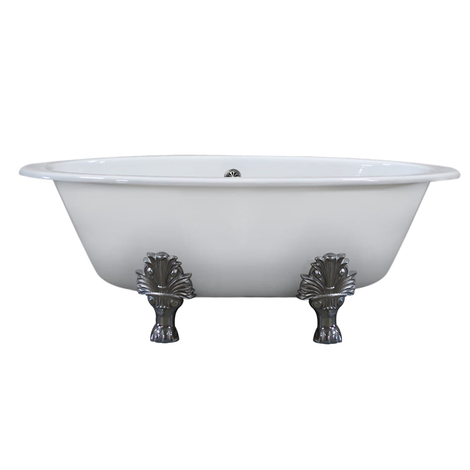 Cambridge Extra Wide Cast Iron Clawfoot Tub, 65.5 x 35.5 No Faucet Holes and Polished Chrome Feet