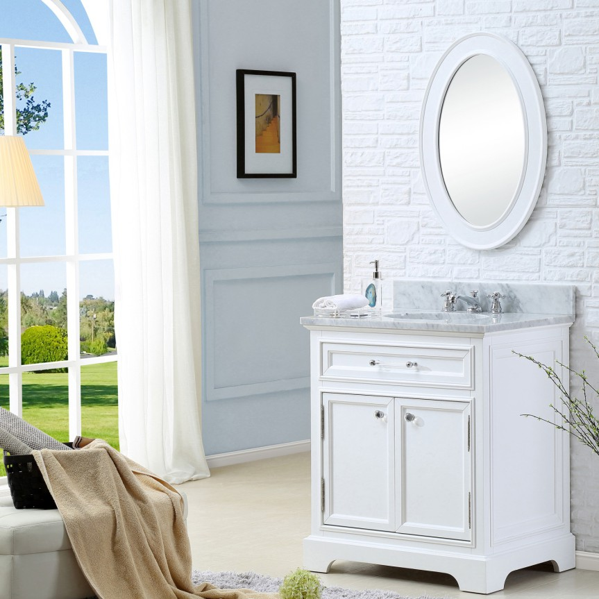 Carenton 24 inch Traditional Bathroom Vanity Solid Wood White Finish