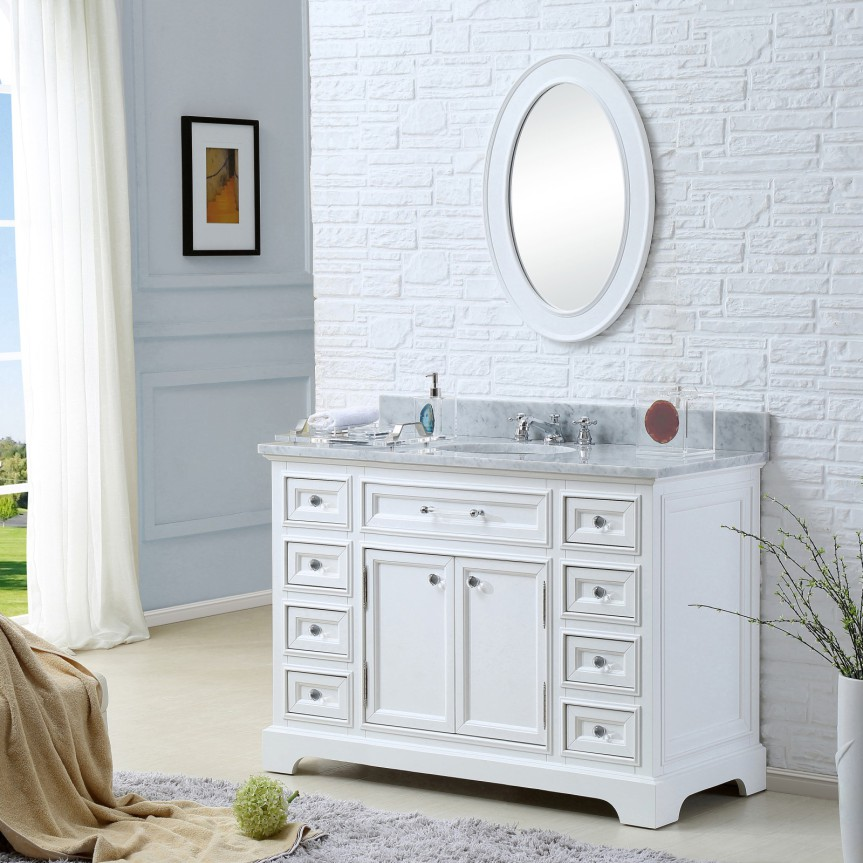 Derby 48 Inch Traditional Bathroom Vanity Marble Countertop Solid Wood Construction