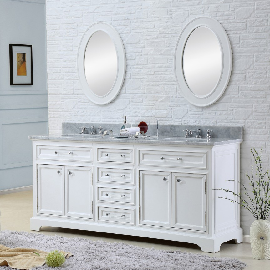 Derby 72 Inch Traditional Double Sink Bathroom Vanity Marble Countertop